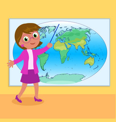 Teacher with world map vector