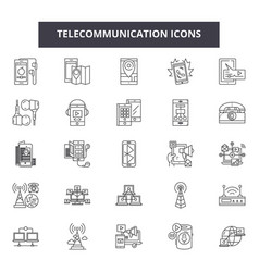 telecommunication line icons signs set vector image