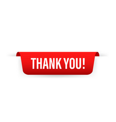 Thank you red ribbon label icon design vector