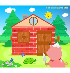 The three little pigs bricks house finished vector image