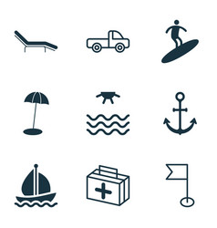 tourism icons set with sea beach chair beach vector image