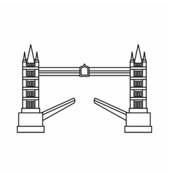 Tower bridge icon outline style vector
