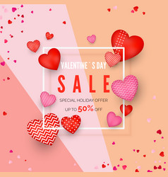 valentines day discount poster holiday offer vector image