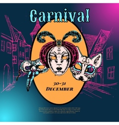 Venetian carnival mask composition poster vector