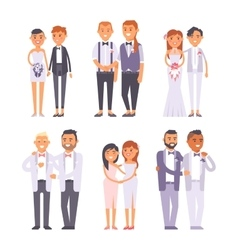 Wedding gay couples characters vector image