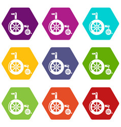 wheelchair icons set 9 vector image
