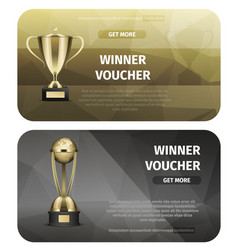 winner voucher with gold trophy for victory vector image
