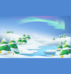 winter landscape christmas background 3d vector image