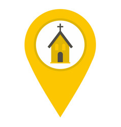 Yellow map pointer with church sign icon isolated vector