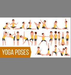 Yoga man poses set relaxation and vector