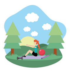 young woman exercising cartoon vector image