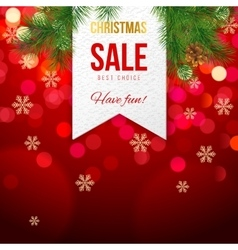 Chrismas sale banner on bokeh background vector image