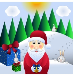 christmas santa claus and hares vector image vector image