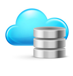 cloud computing and database on white vector image vector image