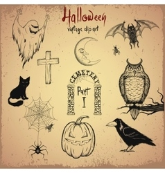 Collection of terrible Halloween objects vector image vector image