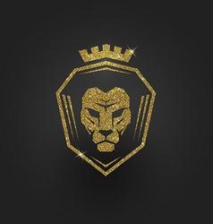 Glitter gold lion logo vector image vector image
