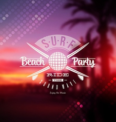 Surf beach party type sign vector image