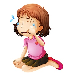 A little girl crying vector image vector image