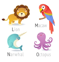 Alphabet with animals from L to O Set 2 vector image vector image
