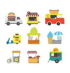 cartoon street food truck stall kiosk set vector image