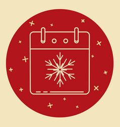 christmas calendar icon in thin line style vector image vector image