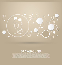 headphones icons on a brown background with vector image vector image