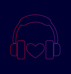 headphones with heart line icon with vector image