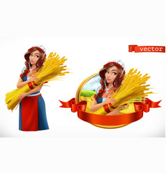 woman with a sheaf of wheat peasant farmer vector image vector image