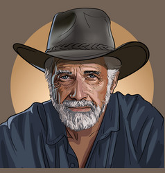 an old wise cowboy in a hat vector image