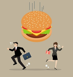 Business people run away from hamburger crisis vector image vector image