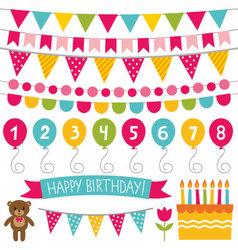 Kid birthday party decoration set vector image vector image