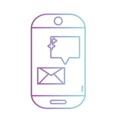 line smartphone technology with e-mail chat bubble vector image