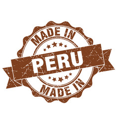 made in peru round seal vector image vector image
