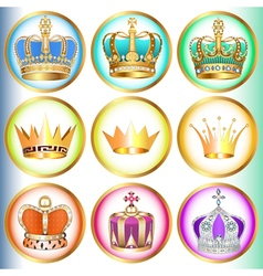 set of crowns with precious stones vector image