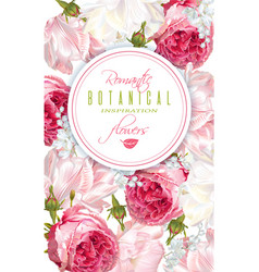 romantic flowers vertical banner vector image vector image