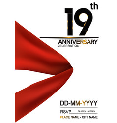 19 anniversary design with big red ribbon vector