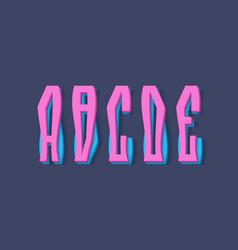 A b c d e cartoon two layered pink blue 3d vector