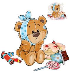 A brown teddy bear sweet vector