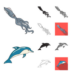 a variety of marine animals cartoonblackflat vector image