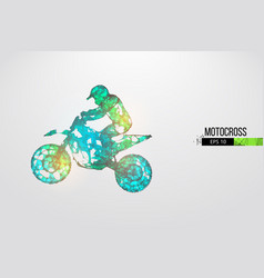 Abstract silhouette a wireframe motocross rider vector