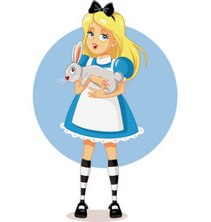 Alice in wonderland with her white rabbit vector