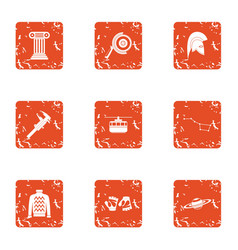 Ancient time icons set grunge style vector