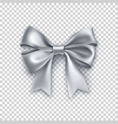 Beautiful silver ribbon bow isolated on white vector