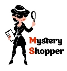 Black and white mystery shopper woman in spy coat vector