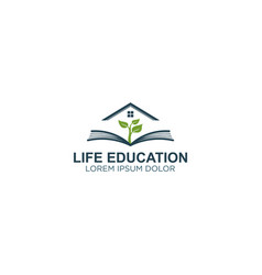 Book logo with plant element - live education vector