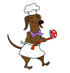 Cartoon dachshund chef with a ladle vector