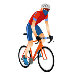 Cartoon young man in helmet riding touring bike vector