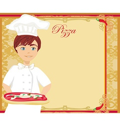 Chef with pizza - Abstract card with space for vector