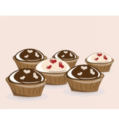 Chocolate and vanilla cupcakes vector