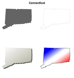Connecticut outline map set vector image